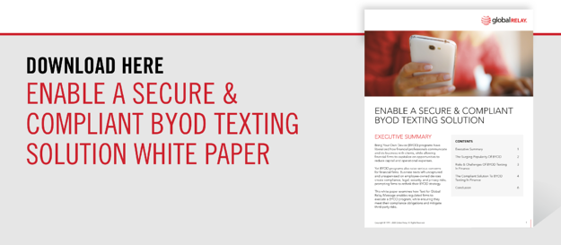 Download our Enable a Secure & Compliant BYOD Texting Solution White Paper